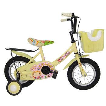 【Adagio】12吋大頭妹打氣胎童車附置物籃-米色~台灣製造