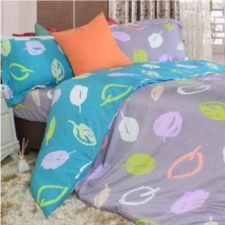 【Casa Aroma】翩翩葉舞-淺紫 天絲雙人特大床包兩用被四件組-6X7尺