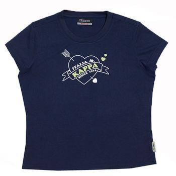 KAPPA義大利小朋友吸濕排汗速乾彩色圓領衫~丈青/綠色-FA81-F402-3