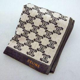 CELINE 經典繽紛圖騰刺繡logo毛巾(卡其)