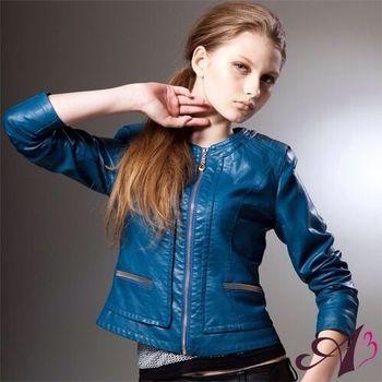 【A3】名媛修身短版時髦類羊皮外套