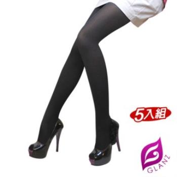 【GLANZ 格藍絲】100D 小惡魔防勾纖腿彈性絲襪(激瘦黑_5雙組)