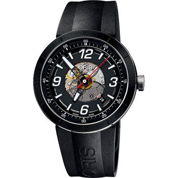 ORIS TT1 競速陶瓷時尚鏤空機械腕錶-黑/膠帶733.7668.41.14RS