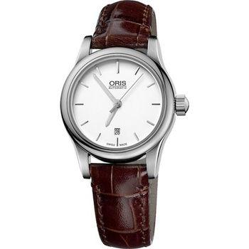 ORIS Classic 經典三針機械女錶-白/咖啡56176504051LS