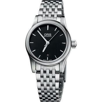 ORIS Classic 經典三針機械鋼帶女錶-黑56176504054MB