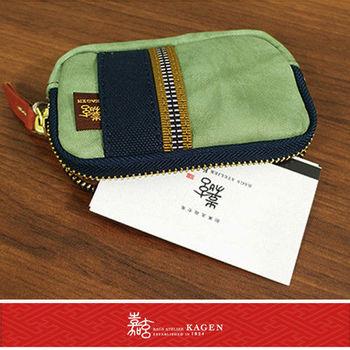 【嘉玄】日本製 手工 零錢包 手機包 相機包 小牛皮材質 日本百年品牌 小禮物【1-040】-綠色