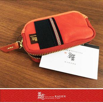 【嘉玄】日本製 手工 零錢包 手機包 相機包 小牛皮材質 日本百年品牌 小禮物【1-040】-橘色