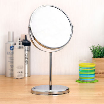 【牧野屋】北歐銀白2.5倍彩妝雙面桌上鏡