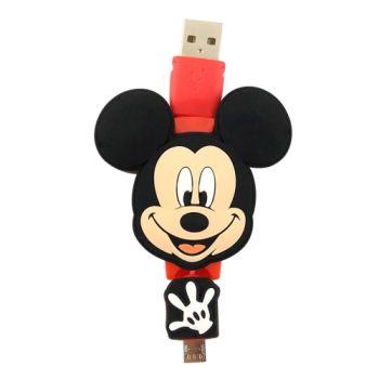 【Disney】Micro USB 造型伸縮傳輸線-米奇