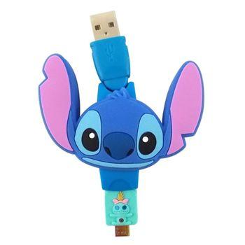 【Disney】Micro USB 造型伸縮傳輸線-史迪奇