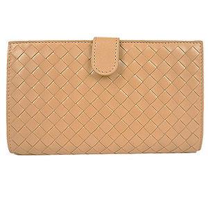 BOTTEGA VENETA 手工編織小羊皮釦式長夾(粉膚)-132357VAFR16702