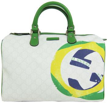 GUCCI 經典雙G LOGO緹花防水PVC波士頓包(巴西綠)-195451