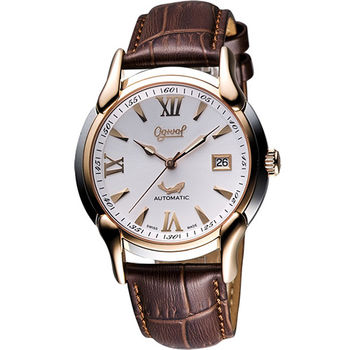 Ogival 愛其華 旗艦復古機械腕錶1950-2AGSR皮