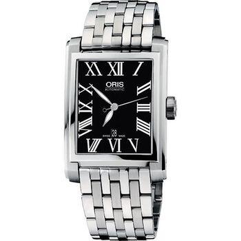 ORIS Rectangular 藝術家羅馬機械鋼帶腕錶-黑/銀58376574074MB