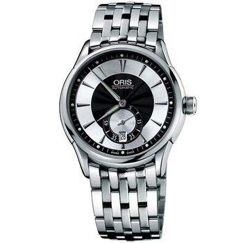 【ORIS】 Artelier 小秒針經典鋼帶腕錶(黑)62375824054MB