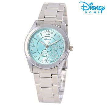 【Disney迪士尼】米奇水鑽網紋 時尚腕錶 鋼帶錶 (水漾藍)