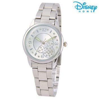 【Disney迪士尼】米奇水鑽網紋 時尚腕錶 鋼帶錶 (典雅白)