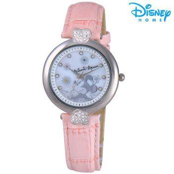【Disney迪士尼】米奇米妮甜在心 皮革錶 造型腕錶 (米妮款)