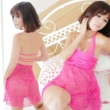 【誘惑天使】A005-2一網情深‧透明花網薄紗二件式性感睡衣組 (銷魂桃紅)