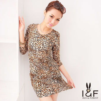 IFOREST 狂野性感合身豹紋洋裝112-1101