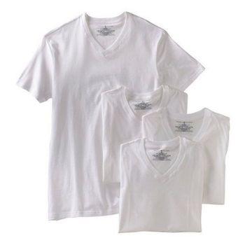 【Tommy Hilfiger】2014男時尚品味V領白色內衣4件組【預購】
