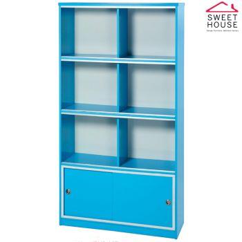 【甜美家】塑鋼防潮防霉3尺玻璃門書櫃(馬卡龍藍色 台灣製)