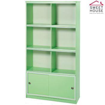 【甜美家】塑鋼防潮防霉3尺玻璃門書櫃(馬卡龍綠色 台灣製)