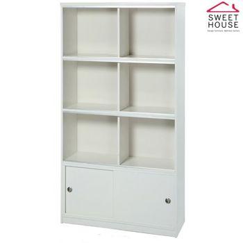 【甜美家】塑鋼防潮防霉3尺玻璃門書櫃(白色 台灣製)