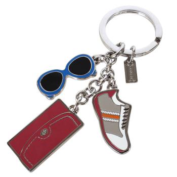 COACH-藍色墨鏡球鞋紅色長夾鑰匙圈