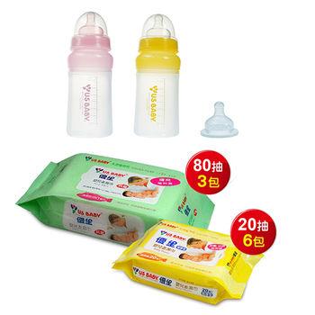【優生】矽晶防脹奶瓶230ml(寬口L)+嬰兒柔濕巾清爽型80抽3包+嬰兒柔濕巾20抽6包