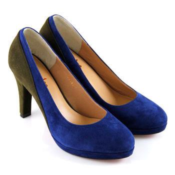 【ANNAlee】ANNAlee經典撞色牛麂皮金屬邊高跟鞋-藍色
