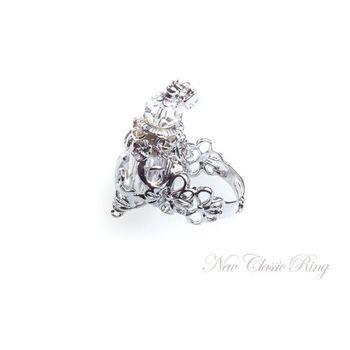 【AK La perfume】琉璃香氛瓶 新古典主義戒指-白色