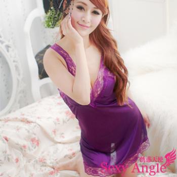 【誘惑天使】 A060-1眷寵天使~緞面蕾絲洋裝性感睡衣 (醉心紫)