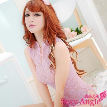 【誘惑天使】 A096-1古典美人~旗袍式洋裝二件式性感睡衣組 (古典粉)