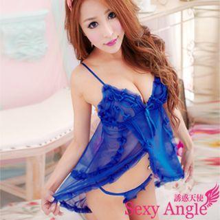 【誘惑天使】 A151-1陶醉情人 深V花邊開叉洋裝+丁字褲二件式性感睡衣組 (誘惑寶藍)