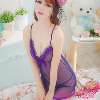 【誘惑天使】 A081-1魅麗情調~蝶結透視薄紗洋裝二件式性感睡衣組 (誘情紫)