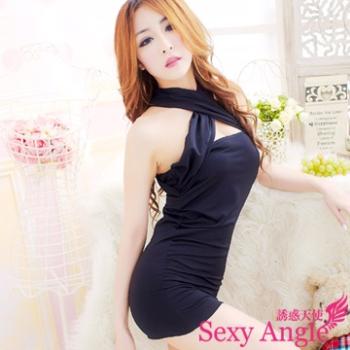 【誘惑天使】A185-1冷豔迷情 交叉領包臀性感洋裝 (冷豔黑)