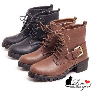 ☆Love Girl☆六孔綁帶側扣馬丁款短靴