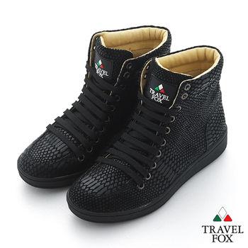 Travel Fox(男) SEXY-性感大膽 個性風高筒休閒鞋 - 蛇紋黑