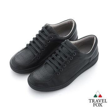 Travel Fox(男) 旅狐休閒鞋 - 平實的男人超軟牛皮休閒鞋 - 低調黑