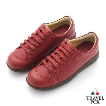 Travel Fox(女) 旅狐休閒鞋 圓頭綁帶休閒鞋 - 熱情紅