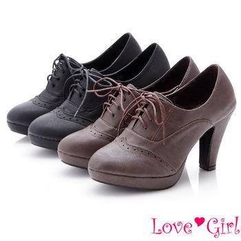 ☆Love Girl☆經典學院風綁帶牛津高跟踝靴