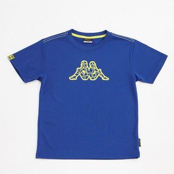 KAPPA義大利小朋友吸濕排汗速乾彩色圓領衫~科技藍色-GA42-A020-5
