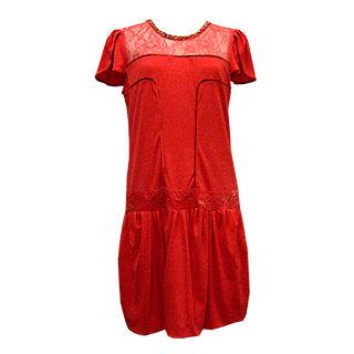 【龐吉PANGCHI】透視感泡泡袖貼身洋裝(1218062-85/86)