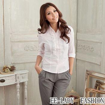 【EE-LADY】OL荷葉蕾絲條紋七分袖襯衫-粉色(36,40,42)