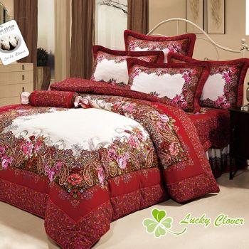 【幸運草】拉菲花緣 高級精梳棉雙人八件式獨立ABC版床罩組