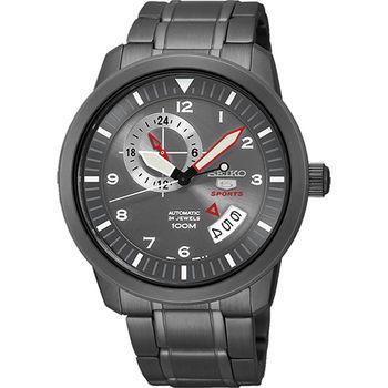 SEIKO 精工5號盾牌24石機械腕錶-灰xIP黑 4R37-00Z0SD