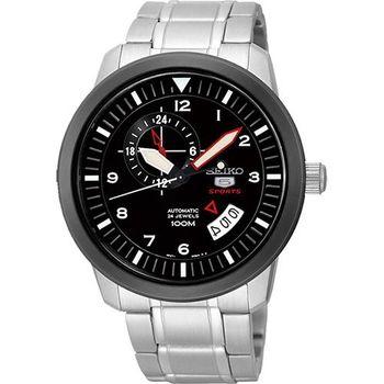 SEIKO 精工5號盾牌24石機械腕錶-黑x銀 4R37-00Z0D