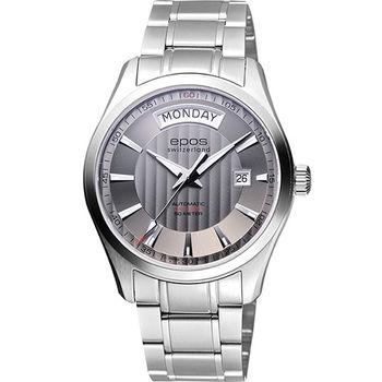 epos Day-Date光輝機械腕錶-灰3410.142.20.18.30