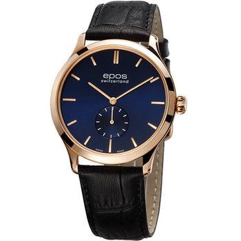 epos 經典超薄獨立小秒針機械腕錶-藍3408.208.24.16.15FB